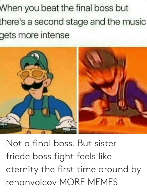 The Final Boss: When you beat the final boss but  there's  a second stage and the music  more intense  gets Not a final boss. But sister friede boss fight feels like eternity the first time around by renanvolcov MORE MEMES