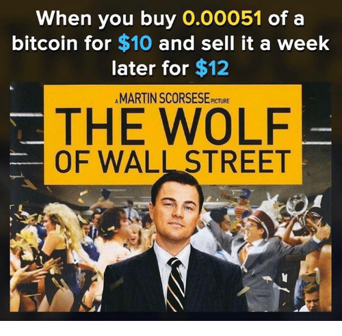 Memes, The Wolf of Wall Street, and The Wolf of Wall Street: When you buy 0.00051 of a  bitcoin for $10 and sell it a week  later for $12  AMARTIN SCORSESE PICTURE  THE WOLF  OF WALL STREET