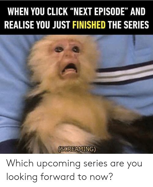 """Click, Dank, and 🤖: WHEN YOU CLICK """"NEXT EPISODE"""" AND  REALISE YOU JUST FINISHED THE SERIES  (SCREAMING) Which upcoming series are you looking forward to now?"""