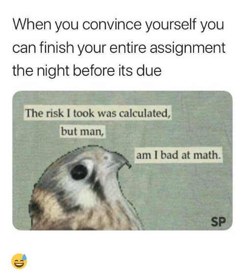 Risk I Took Was Calculated But Man Am I Bad At Math: When you convince yourself you  can finish your entire assignment  the night before its due  The risk I took was calculated  but man,  am I bad at math.  SP 😅