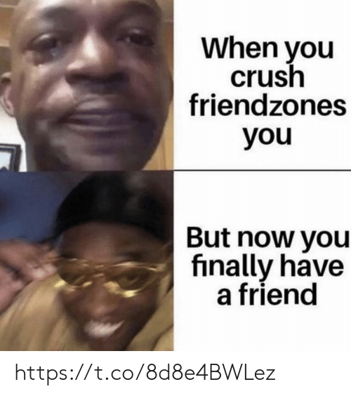 Crush, Memes, and 🤖: When you  crush  friendzones  you  But now you  finally have  a friend https://t.co/8d8e4BWLez