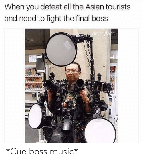 The Final Boss: When you defeat all the Asian tourists  and need to fight the final boss  ar *Cue boss music*