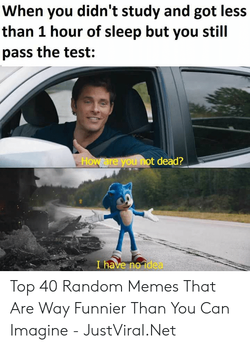 i have no idea: When you didn't study and got less  than 1 hour of sleep but you stil  pass the test:  How are you not dead?  I have no idea Top 40 Random Memes That Are Way Funnier Than You Can Imagine - JustViral.Net