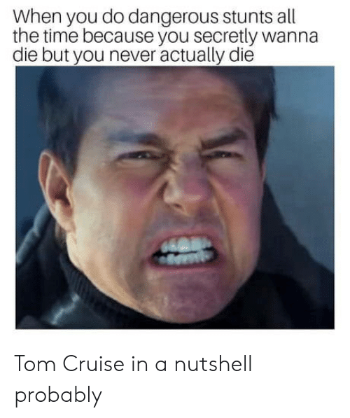 Stunts: When you do dangerous stunts all  the time because you secretly wanna  die but you never actually die Tom Cruise in a nutshell probably