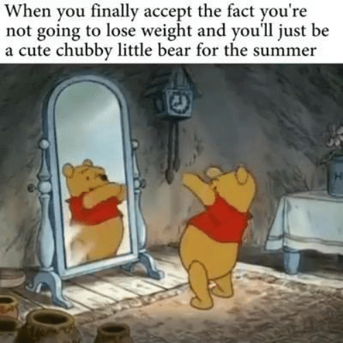 Cute, Memes, and Summer: When you finally accept the fact you're  not going to lose weight and you'll just be  a cute chubby little bear for the summer