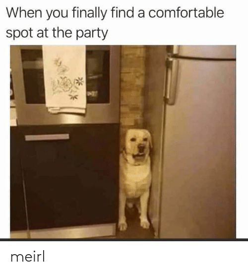 find: When you finally find a comfortable  spot at the party meirl
