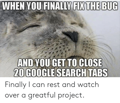 Google, Google Search, and Search: WHEN YOU FINALLY FIX THE BUG  ANDYOU GET TO CLOSE  20 GOOGLE SEARCH TABS Finally I can rest and watch over a greatful project.