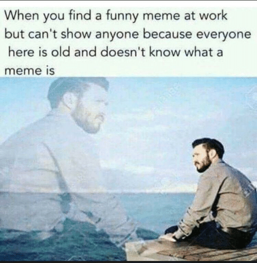 funny meme: When you find a funny meme at work  but can't show anyone because everyone  here is old and doesn't know what a  meme is