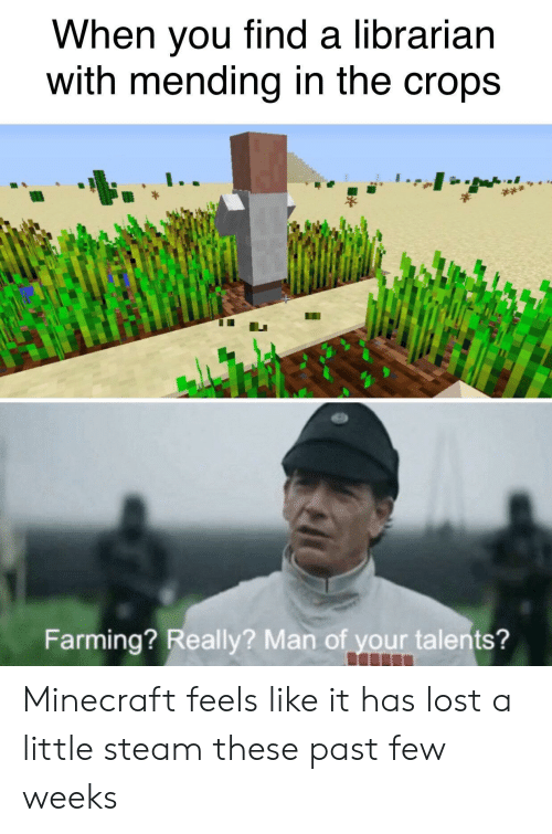 minecraft: When you find a librarian  with mending in the crops  Farming? Really? Man of your talents? Minecraft feels like it has lost a little steam these past few weeks