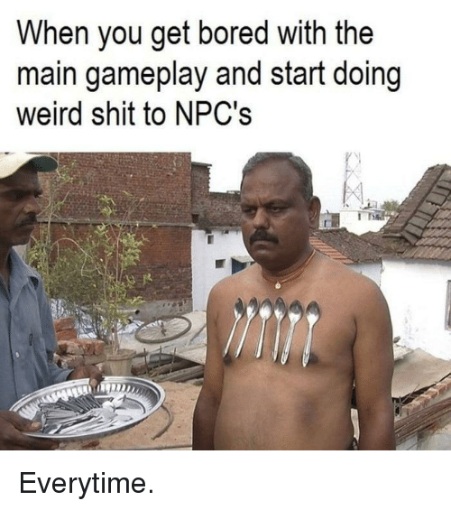 Bored, Shit, and Weird: When you get bored with the  main gameplay and start doing  weird shit to NPC's Everytime.