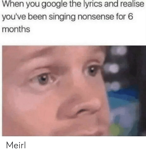 Google, Singing, and Lyrics: When you google the lyrics and realise  you've been singing nonsense for 6  months Meirl