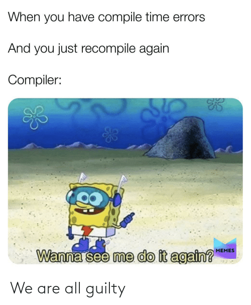 When You Have: When you have compile time errors  And you just recompile again  Compiler:  MEMES  Wanna see me do it again?  924 We are all guilty