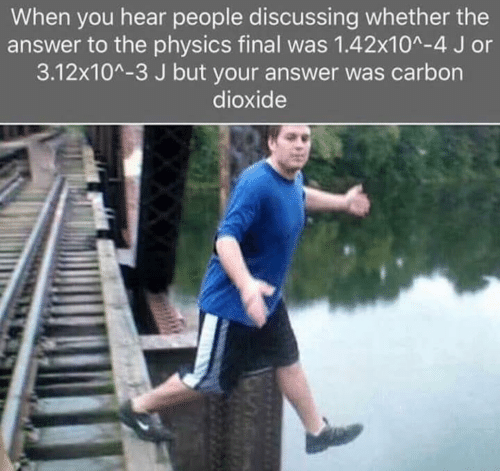 Physics, Answer, and Carbon: When you hear people discussing whether the  answer to the physics final was 1.42x10^-4 J or  3.12x10^-3 J but your answer was carbon  dioxide