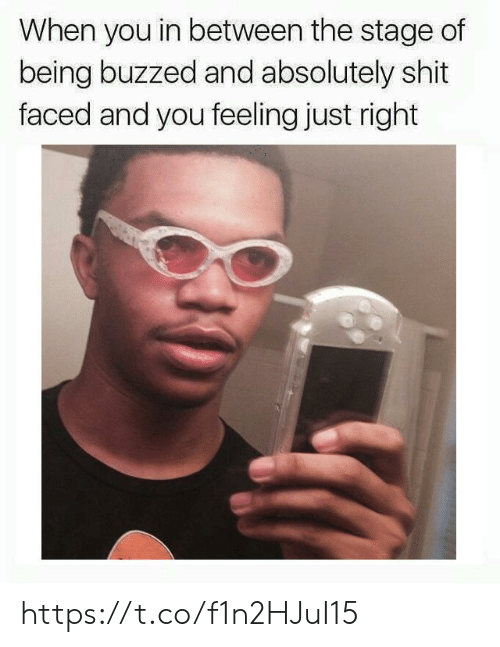 faced: When you in between the stage of  being buzzed and absolutely shit  faced and you feeling just right https://t.co/f1n2HJuI15