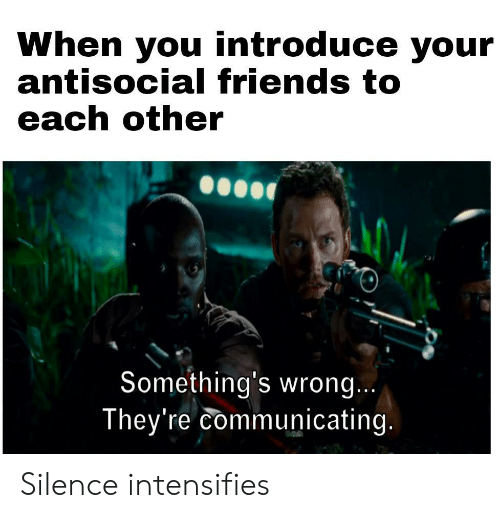 Friends, Antisocial, and Silence: When you introduce your  antisocial friends to  each other  Something's wrong...  They're communicating. Silence intensifies