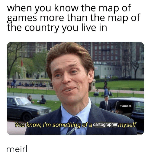 Games, Live, and MeIRL: when you know the map of  games more than the map of  the country you live in  u/Eleazarpl13  You know, I'm something of a cartographer myself meirl