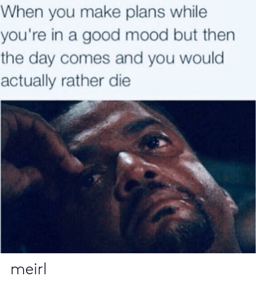 Mood, Good, and MeIRL: When you make plans while  you're in a good mood but then  the day comes and you would  actually rather die meirl