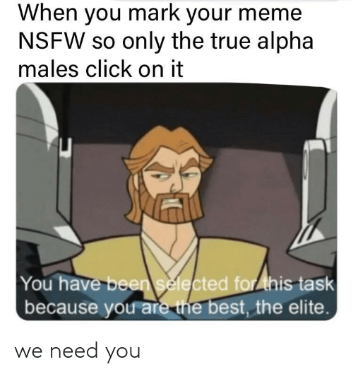 Selected: When you mark your meme  NSFW so only the true alpha  males click on it  You have been selected for ihis task  because you are the best, the elite. we need you