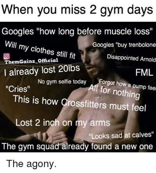 """Clothes, Disappointed, and Fml: When you miss 2 gym days  Googles """"how long before muscle loss""""  Will my clothes still fit  ThemGainz Official  I already lost 20lbs  Cries""""  Googles """"buy trenbolone  Disappointed Arnold  FML  No gym selfie todayForgt how a p  Aff for nothing  This is how Crossfitters must feel  Lost 2 inch on my arms  Looks sad at calves""""  The gym squad already found a new one The agony."""