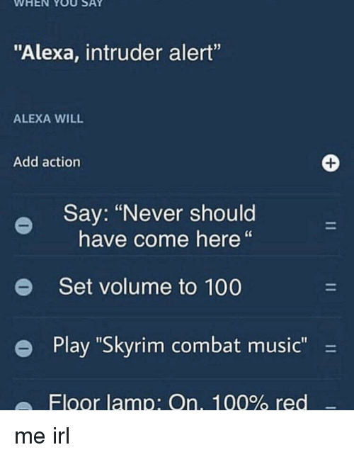 """Anaconda, Music, and Skyrim: WHEN YOU SAY  """"Alexa, intruder alert""""  ALEXA WILL  Add action  Say: """"Never should  have come here""""  e  Set volume to 100  e Play """"Skyrim combat music-  Floor lamp: On, 100% red me irl"""