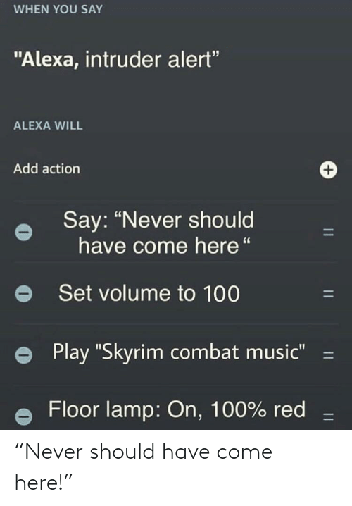 """Anaconda, Music, and Skyrim: WHEN YOU SAY  """"Alexa, intruder alert""""  ALEXA WILL  Add action  Say: """"Never should  have come here""""  e Set volume to 100  e Play """"Skyrim combat music""""-  e Floor lamp: On, 100% red- """"Never should have come here!"""""""