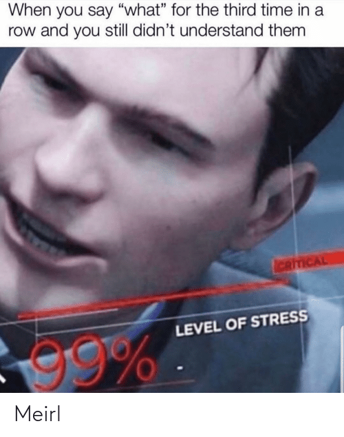 """level: When you say """"what"""" for the third time in a  row and you still didn't understand them  ICRITICAL  LEVEL OF STRESS  99% Meirl"""