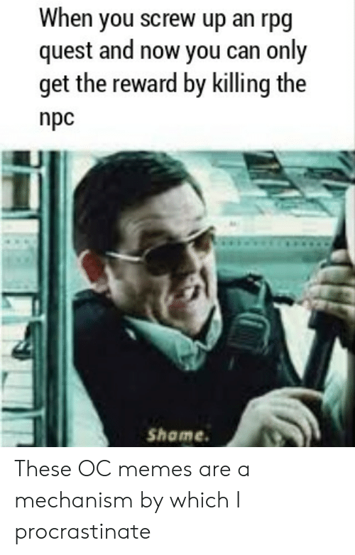 screw: When you screw up an rpg  quest and now you can only  get the reward by killing the  npc  Shame These OC memes are a mechanism by which I procrastinate