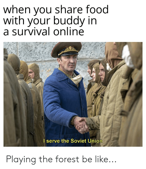 Share Food: when you share food  with your buddy in  a survival online  I serve the Soviet Union Playing the forest be like...
