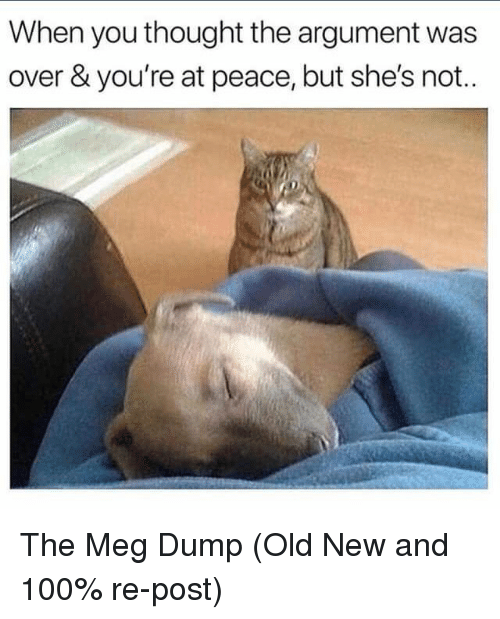at-peace: When you thought the argument was  over & you're at peace, but she's not.. The Meg Dump (Old New and 100% re-post)