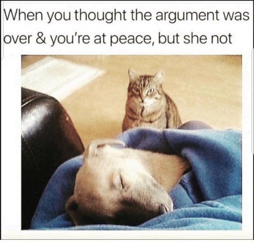 at-peace: When you thought the argument was  over & you're at peace, but she not
