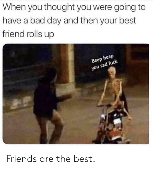 Bad, Bad Day, and Best Friend: When you thought you were going to  have a bad day and then your best  friend rolls up  Веер beep  you sad fuck Friends are the best.