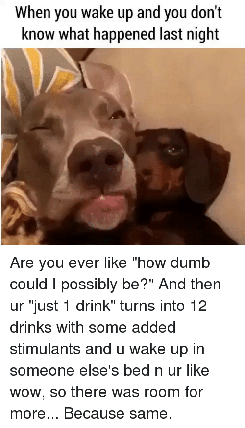 """Dumb, Wow, and Girl Memes: When you wake Up and you dont  know what happened last night Are you ever like """"how dumb could I possibly be?"""" And then ur """"just 1 drink"""" turns into 12 drinks with some added stimulants and u wake up in someone else's bed n ur like wow, so there was room for more... Because same."""