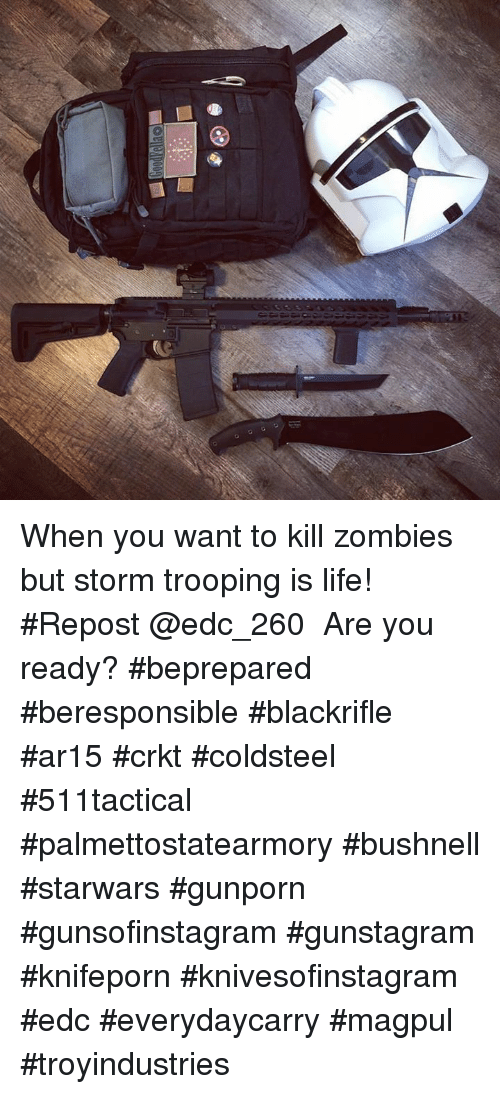 crkt: When you want to kill zombies but storm trooping is life! #Repost @edc_260 ・・・ Are you ready?  #beprepared #beresponsible #blackrifle #ar15 #crkt #coldsteel #511tactical #palmettostatearmory #bushnell #starwars #gunporn #gunsofinstagram #gunstagram #knifeporn #knivesofinstagram #edc #everydaycarry #magpul #troyindustries