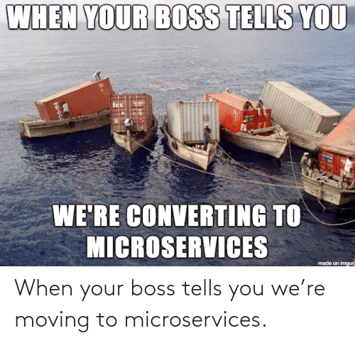 When Your: When your boss tells you we're moving to microservices.