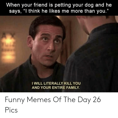"Family, Funny, and Memes: When your friend is petting your dog and he  says, ""I think he likes me more than you.""  I WILL LITERALLY KILL YOU  AND YOUR ENTIRE FAMILY. Funny Memes Of The Day 26 Pics"