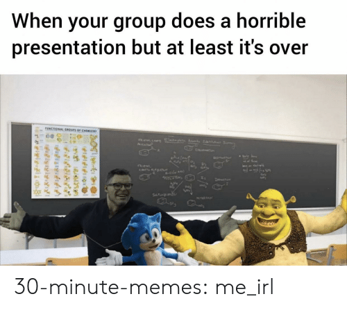 Memes, Tumblr, and Blog: When your group does a horrible  presentation but at least it's over  UNCTIONAL GROUPS OF CHEMISTWY  AsP  CH  CATsALAT  le  SFNL  NTEATN  e  felfitng  relylgi 30-minute-memes:  me_irl