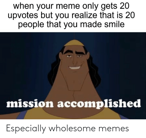 Wholesome Memes: when your meme only gets 20  upvotes but you realize that is 20  people that you made smile  mission accomplished Especially wholesome memes