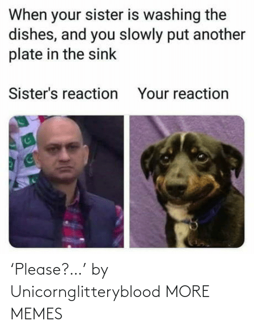 Dank, Memes, and Target: When your sister is washing the  dishes, and you slowly put another  plate in the sink  Sister's reaction  Your reaction 'Please?…' by Unicornglitteryblood MORE MEMES