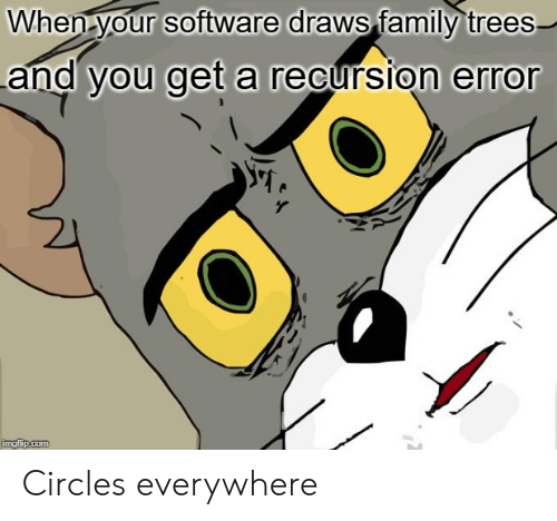 Circles: When your software draws family trees  and you get a recursion error  imgflip.com Circles everywhere