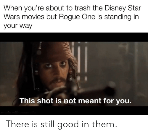 Disney: When you're about to trash the Disney Star  Wars movies but Rogue One is standing in  your way  This shot is not meant for you.  made with mematic There is still good in them.