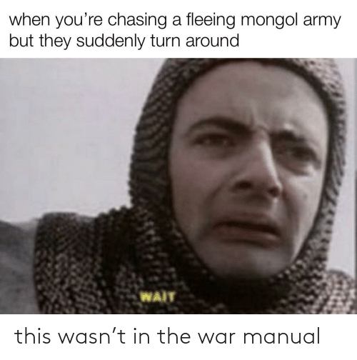 Army: when you're chasing a fleeing mongol army  but they suddenly turn around  WAIT this wasn't in the war manual