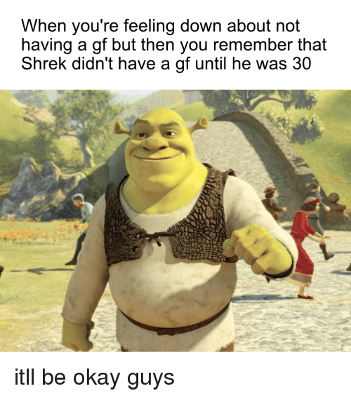 Shrek, Okay, and Down: When you're feeling down about not  having a gf but then you remember that  Shrek didn't have a gf until he was 30 itll be okay guys