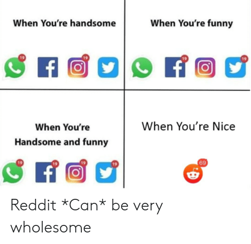 Funny, Reddit, and Wholesome: When You're funny  When You're handsome  f  When You're Nice  When You're  Handsome and funny  69 Reddit *Can* be very wholesome