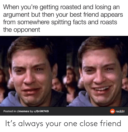 best friend: When you're getting roasted and losing an  argument but then your best friend appears  from somewhere spitting facts and roasts  the opponent  Posted in r/memes by u/GriM749  reddit It's always your one close friend