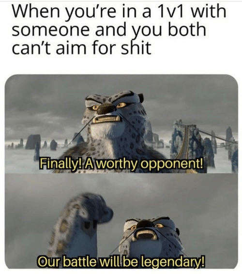 legendary: When you're in a 1v1 with  someone and you both  can't aim for shit  Finally! Aworthy opponent!  Our battle will be legendary!
