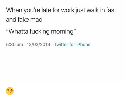 "Fake, Fucking, and Funny: When you're late for work just walk in fast  and fake mad  ""Whatta fucking morning""  5:30 am 13/02/2019 Twitter for iPhone 😏"