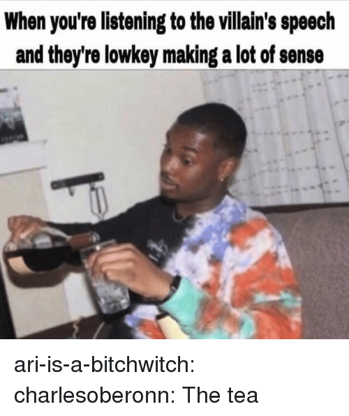 Tumblr, Blog, and Http: When you're listening to the villain's speech  and they're lowkey making a lot of sense ari-is-a-bitchwitch:  charlesoberonn:   The tea