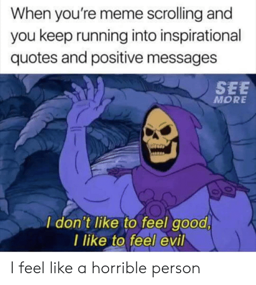 Meme, Good, and Quotes: When you're meme scrolling and  you keep running into inspirational  quotes and positive messages  SEE  MORE  I don't like to feel good  I like to feel evil I feel like a horrible person