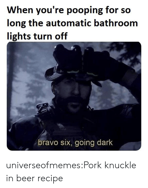 Beer, Tumblr, and Blog: When you're pooping for so  long the automatic bathroom  lights turn off  bravo six, going dark universeofmemes:Pork knuckle in beerrecipe