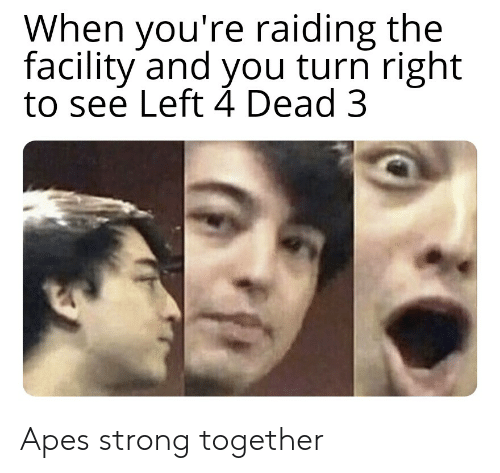 Dank Memes, Strong, and Left 4 Dead: When you're raiding the  facility and you turn right  to see Left 4 Dead 3 Apes strong together